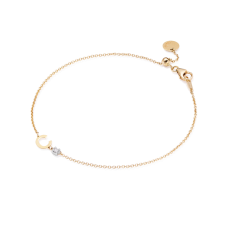 Alphabet bracelet 18kt gold with C diamond