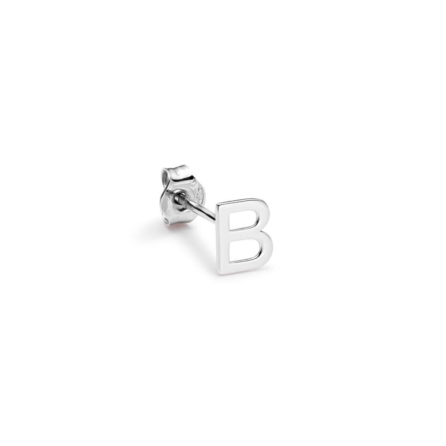 Alphabet white gold earring B