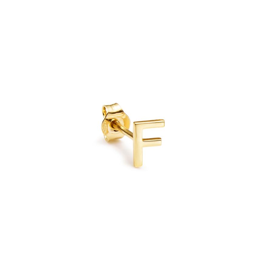 Yellow gold Alphabet Earring F