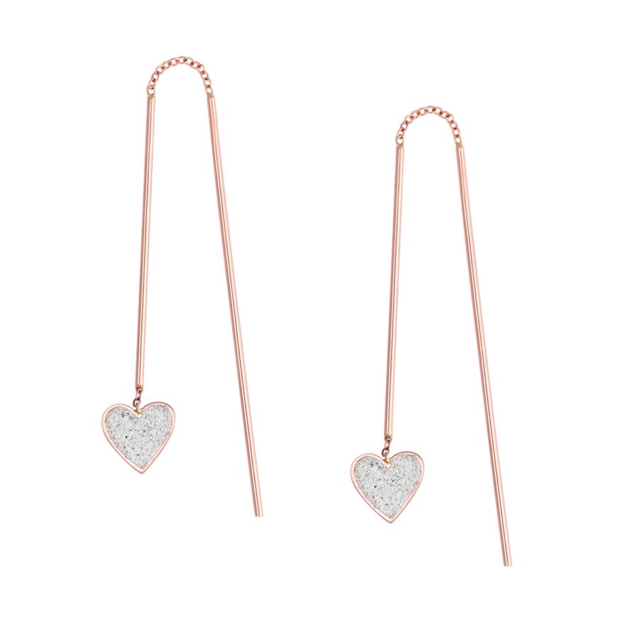 Orecchini pendenti oro rosa cuori Lovelight