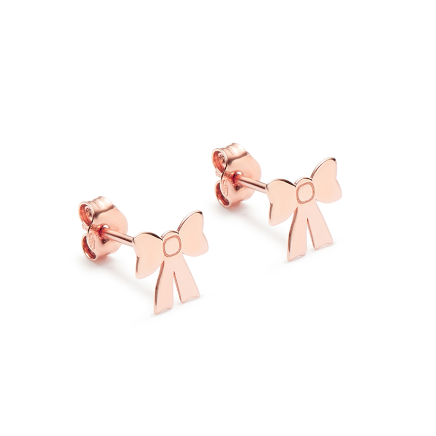Pink Gold Bow Earrings