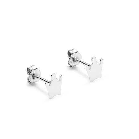 White Gold Crown Earrings