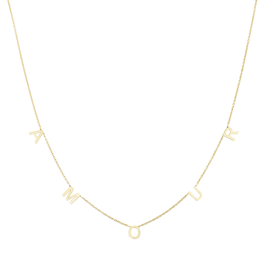 Yellow Gold Necklace with AMOUR inscription