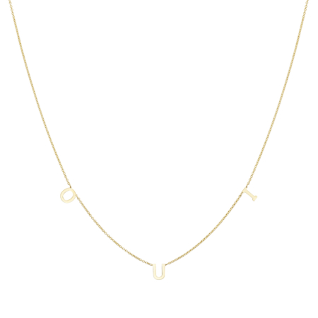 Yellow Gold Necklace with OUI inscription