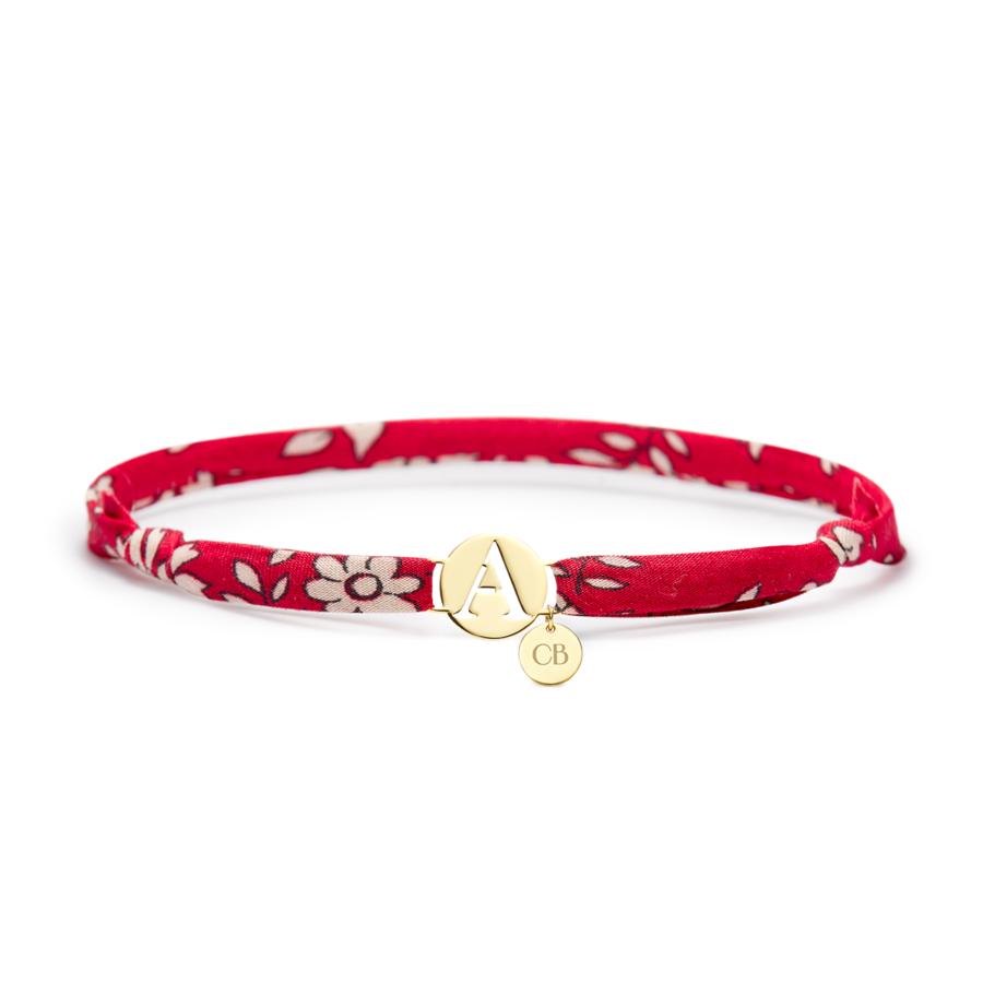 Gold Bracelet Initial Red